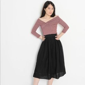 Item de jour black organza midi pleated skirt